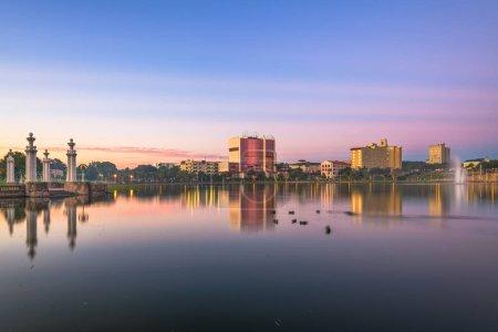 Photo for Lakeland, Florida, USA downtown cityscape on the lake at twilight. - Royalty Free Image