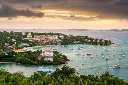 Photo for Cruz Bay, St. John, United States Virgin Islands at dusk. - Royalty Free Image