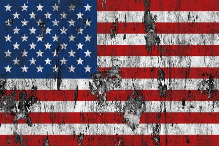 Photo pour Drapeau des États-Unis sur fond texture bois grunge - image libre de droit