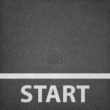 Photo for Asphalt texture background with white line and start word - Royalty Free Image