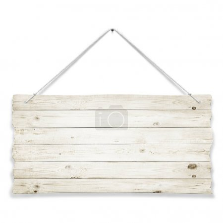 Photo for Wooden sign with ropes isolated over white background - Royalty Free Image