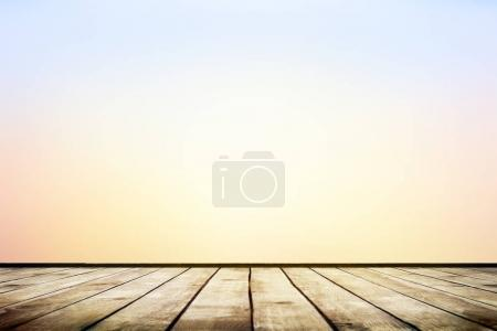 Photo for Empty wooden table with blurred autumn natural background with bokeh - Royalty Free Image