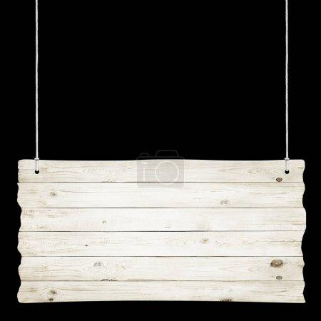 Photo pour Panneau en bois avec cordes isolées sur fond noir - image libre de droit