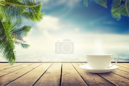 Photo for Cup with tea on table over seascape. Beauty nature background - Royalty Free Image