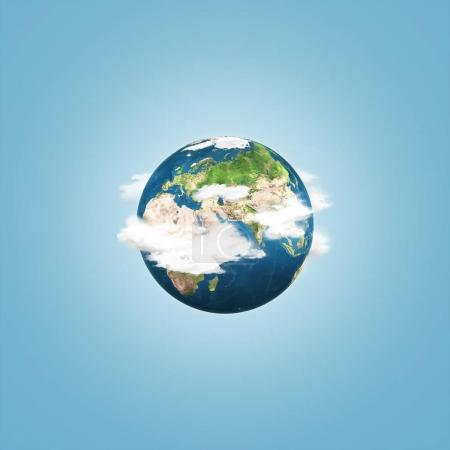 Photo for Earth globe with clouds over blue sky background. Abstract conceptual image. Elements of this image furnished by NASA - Royalty Free Image