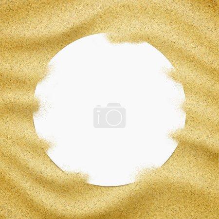 Photo pour Cadre en papier blanc en fond de sable. Gros plan sur les grains de sable - image libre de droit