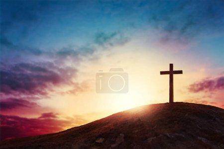 Photo for Silhouette cross on Calvary mountain sunset background. Easter concept - Royalty Free Image