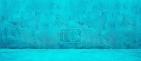 Photo pour Blank béton large fond de texture de mur bleu - image libre de droit