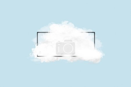 Photo for Cloud with black frame over blue background. Conceptual background - Royalty Free Image