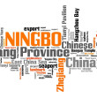 Ningbo City in China. Word cloud concept....
