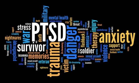Photo for PTSD - post traumatic stress disorder. War veteran mental health issue. Word cloud sign. - Royalty Free Image