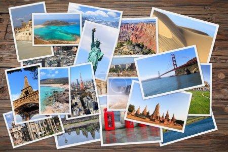 Photo pour Collage de monuments du monde - pile de photos des États-Unis, France, Angleterre, Espagne, Brésil, Nouvelle-Zélande, Japon, Thaïlande et Cambodge . - image libre de droit