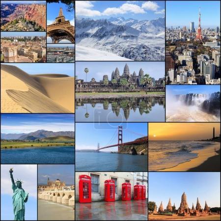 Photo pour Collection de lieux de voyage dans le monde - collage photo avec Paris, New York, Grand Canyon, Tokyo, Londres, Californie, Espagne et Nouvelle-Zélande . - image libre de droit