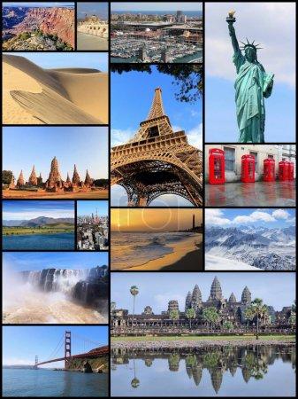 Photo pour Collage de monuments du monde - collection de photos des États-Unis, France, Angleterre, Espagne, Brésil, Nouvelle-Zélande, Japon, Thaïlande et Cambodge . - image libre de droit