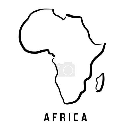 Illustration pour Afrique contour de carte simple - lisse vecteur de carte de forme de continent simplifié . - image libre de droit