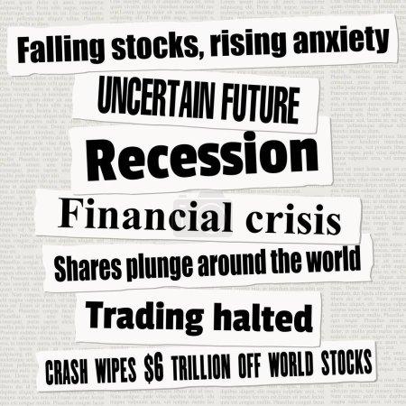 Titres de journaux de crise financière. Les marchés boursiers tombent. Vecteur de collecte de titres d'actualité .