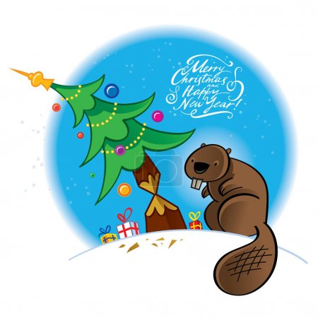greeting card with christmas tree and beaver