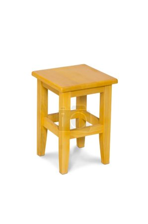 Wooden stool isolated by hand made isolated on whi...