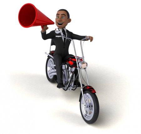 Fun clown  on motorcycle  - 3D Illustration