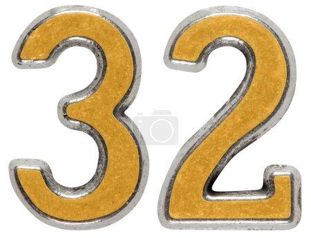 Photo pour Chiffre métallique 32, trente-deux, isolé sur fond blanc - image libre de droit
