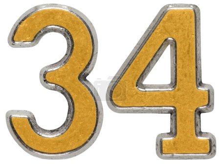 Photo pour Chiffre métallique 34, 34, isolé sur fond blanc - image libre de droit