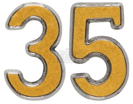 Photo pour Chiffre métallique 35, trente-cinq, isolé sur fond blanc - image libre de droit