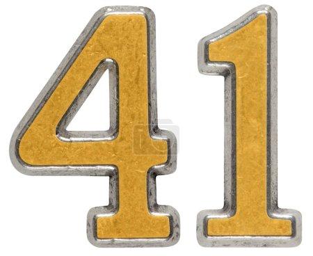 Photo pour Chiffre en métal 41, 41, isolé sur fond blanc - image libre de droit