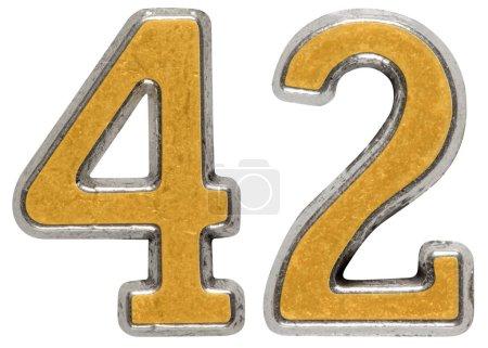 Photo pour Chiffre en métal 42, quarante-deux, isolé sur fond blanc - image libre de droit