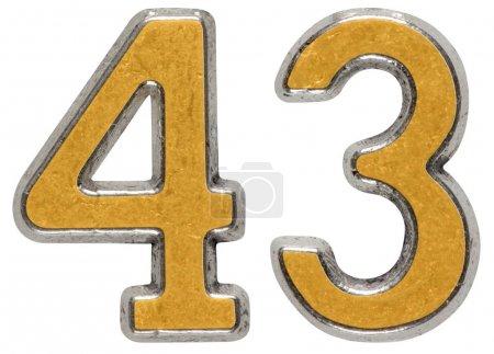 Photo pour Chiffre métallique 43, quarante-trois, isolé sur fond blanc - image libre de droit
