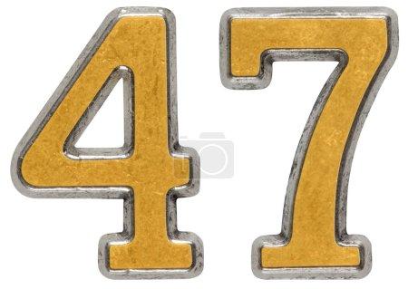 Photo pour Chiffre métallique 47, 47, isolé sur fond blanc - image libre de droit