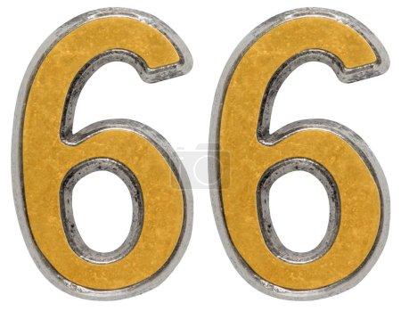 Photo pour Chiffre métal 66, soixante-six, isolé sur fond blanc - image libre de droit
