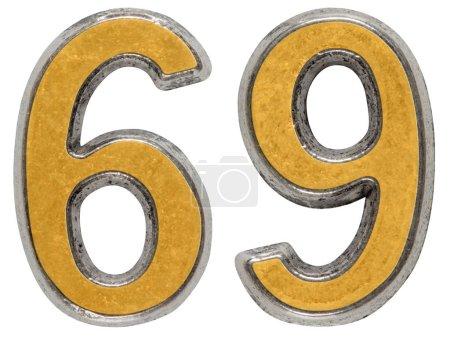 Photo pour Chiffre en métal 69, soixante-neuf, isolé sur fond blanc - image libre de droit