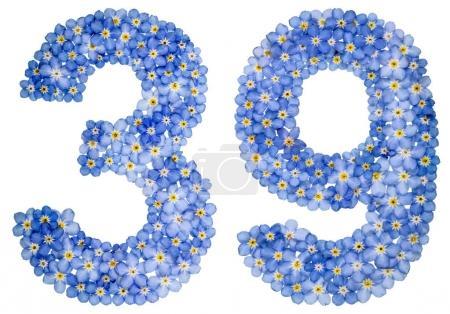 Photo pour Chiffre arabe 39, trente neuf, de fleurs bleu myosotis, isolé sur fond blanc - image libre de droit