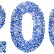 Arabic numeral 200, two hundred, from blue forget-...