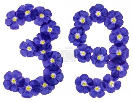 Photo pour Chiffre arabe 39, trente neuf, de fleurs bleues du lin, isolé sur fond blanc - image libre de droit