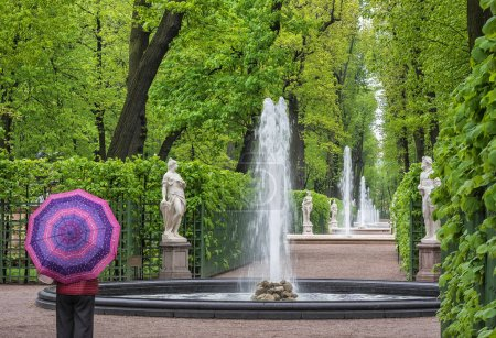 Rainy day. The Summer Garden in St.-Petersburg, Russia