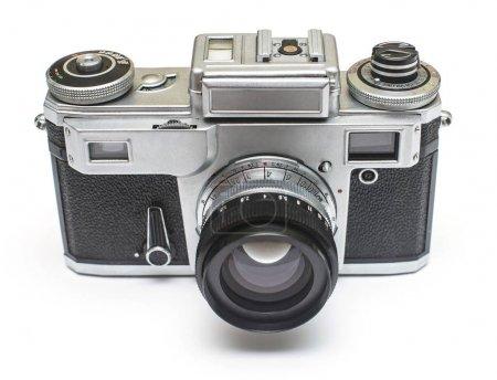 Vieille caméra film rétro isolé sur fond blanc. Vue plate Lapointe, top