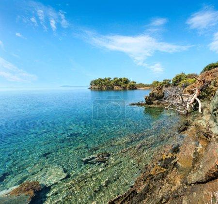 Photo pour Été matin paysage côte rocheuse de la mer Egée de pins sur la rive, Sithonia (près de Ag. Kiriaki), Halkidiki, Grèce. - image libre de droit