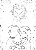 Doodle milenci, chlapce a dívku pod srdce s erupce v vi