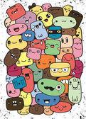 Funny cartoon faces Vector clip art illustration