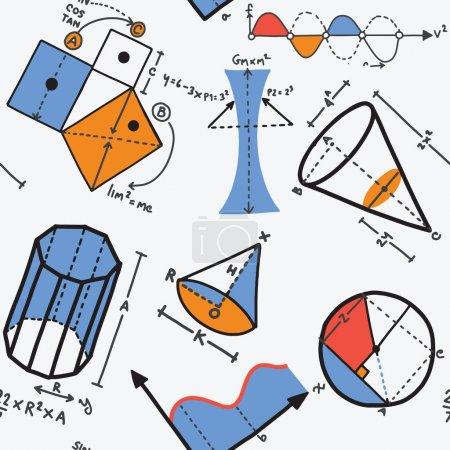 Illustration pour Concept moderne de couleur des mathématiques pour l'école, l'université et la formation. Illustration vectorielle avec différents éléments sur le sujet mathématiques.Illustration vectorielle, motif sans couture - image libre de droit