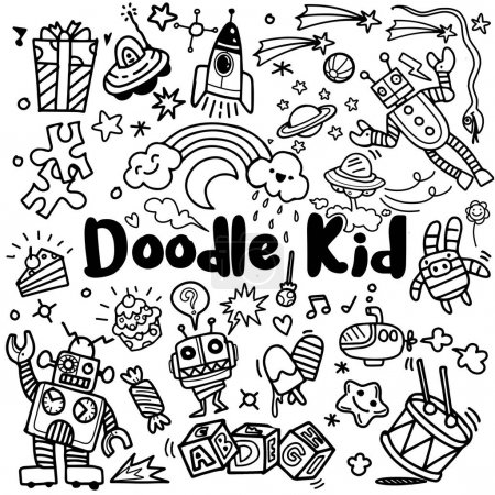 Illustration for Hand drawn kids doodle set,Doodle style, Set of cute design ,Vector Illustration - Royalty Free Image