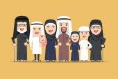 vector arab family muslim people saudi cartoon man and woman
