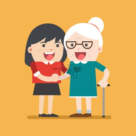 Illustration for Illustration of young volunteer woman caring for elderly woman. woman helping and supporting old aged female. Vector flat design. Social concept caring for seniors - Royalty Free Image
