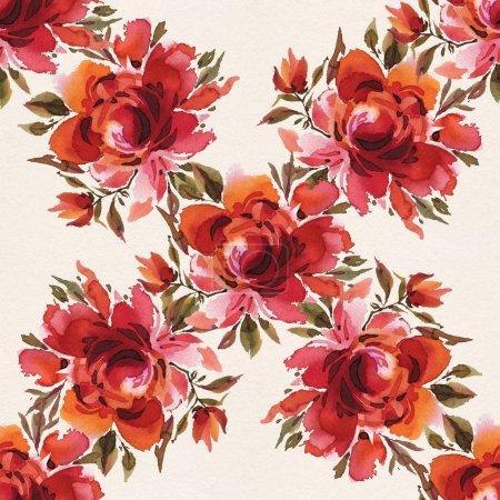 Photo pour Modèle de roses rouges dessinées à la main en aquarelle sur fond clair . - image libre de droit