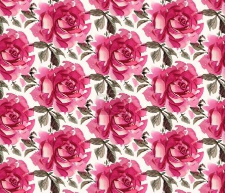 Photo pour Motif rose dessiné à la main en aquarelle sur fond clair . - image libre de droit