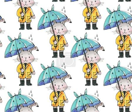 Photo pour Modèle sans couture avec drôle de bande dessinée lapin avec parasol. Dessin Aquarelle et encre. Illustration dessinée à la main. - image libre de droit