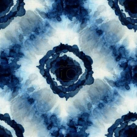 Seamless tie-dye pattern of indigo color