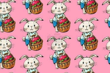 Photo pour Modèle sans couture avec drôle de bande dessinée lapins sur fond rose. Dessin Aquarelle et encre. Illustration dessinée à la main. - image libre de droit