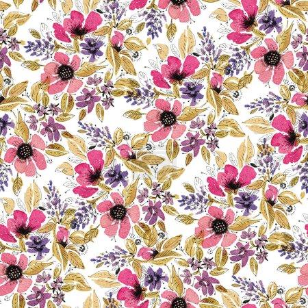 Photo pour Modèle sans couture avec des fleurs d'aquarelle. Illustration dessinée à la main. - image libre de droit